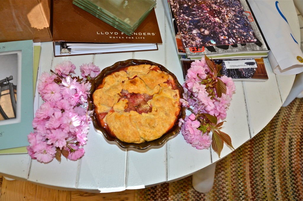 Cherry blossoms help decorate the delicious homemade rhubarb pie—thank you Keven