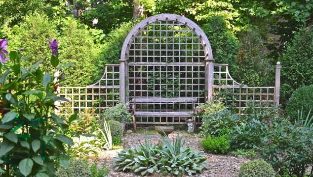 The lattice bench is a great place to view the garden and the mountains