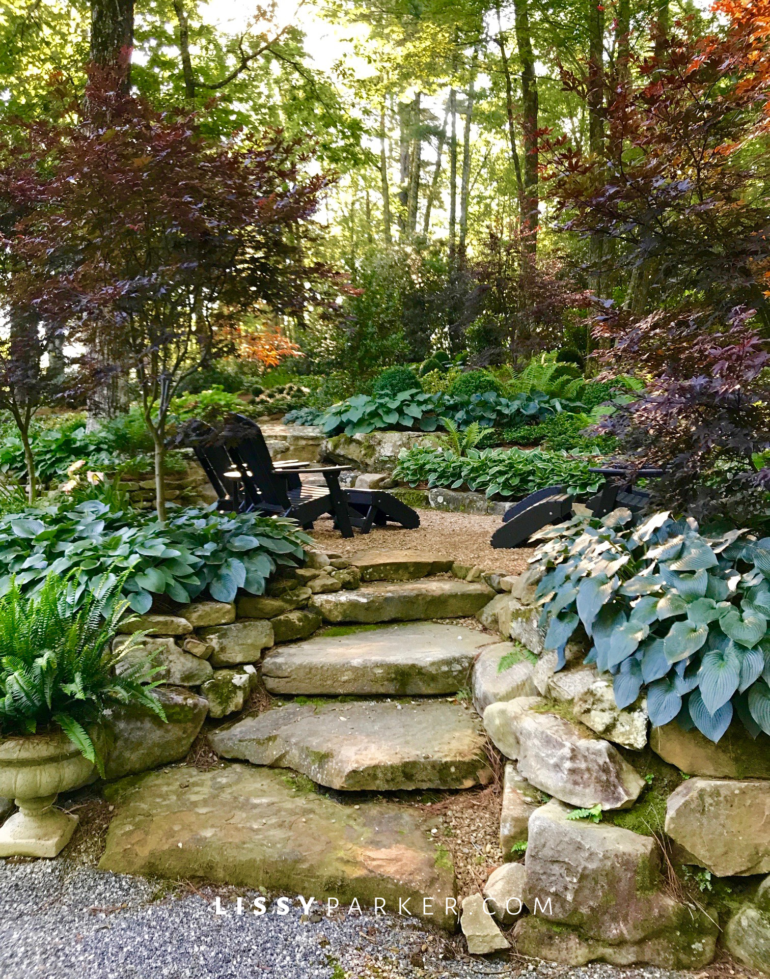 stone patio in the woods
